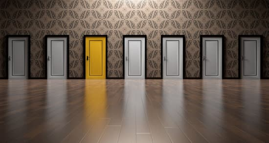 Image of 7 doors, one is golden. Represents opportunity for courage and grit