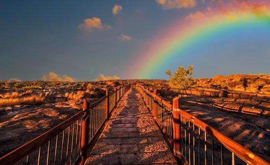 Image of rainbow over bridge or path.